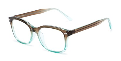 Angle of The Jupiter in Brown/Turquoise Blue Fade, Women's and Men's Retro Square Reading Glasses