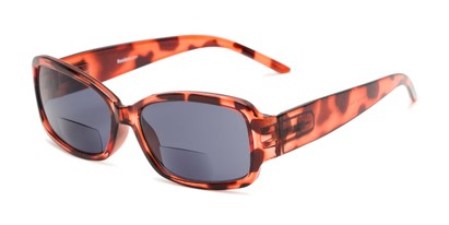 Angle of The Karissa Bifocal Reading Sunglasses in Pink Tortoise with Smoke, Women's Rectangle Reading Sunglasses