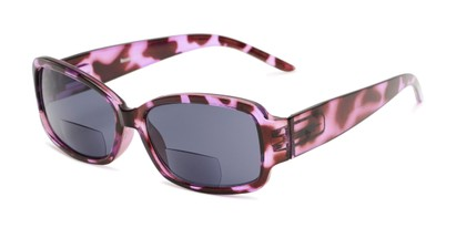 Angle of The Karissa Bifocal Reading Sunglasses in Purple Tortoise with Smoke, Women's Rectangle Reading Sunglasses
