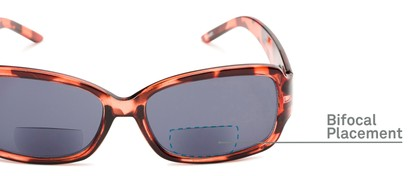 Detail of The Karissa Bifocal Reading Sunglasses in Pink Tortoise with Smoke