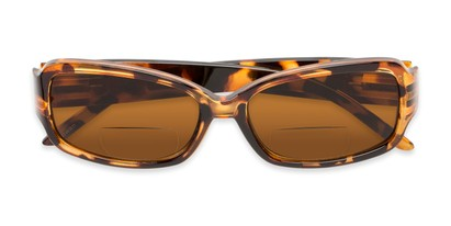 Folded of The Karissa Bifocal Reading Sunglasses in Brown Tortoise with Amber