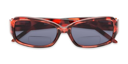 Folded of The Karissa Bifocal Reading Sunglasses in Pink Tortoise with Smoke