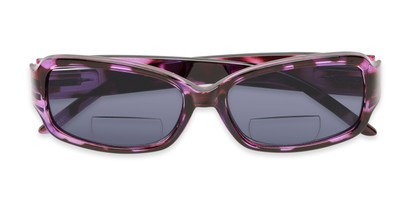 Folded of The Karissa Bifocal Reading Sunglasses in Purple Tortoise with Smoke