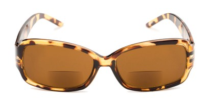 Front of The Karissa Bifocal Reading Sunglasses in Brown Tortoise with Amber
