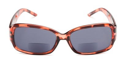 Front of The Karissa Bifocal Reading Sunglasses in Pink Tortoise with Smoke