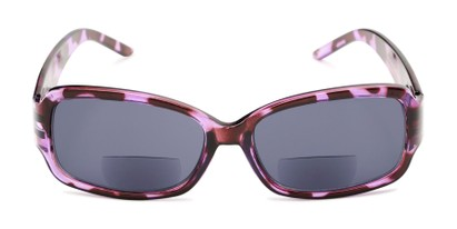 Front of The Karissa Bifocal Reading Sunglasses in Purple Tortoise with Smoke