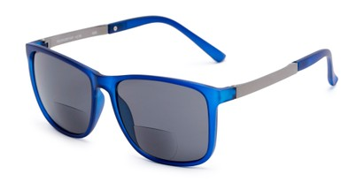 Angle of The Kearney Bifocal Reading Sunglasses in Matte Blue with Smoke, Men's Square Reading Sunglasses