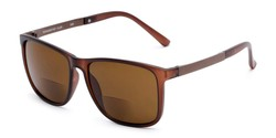 Angle of The Kearney Bifocal Reading Sunglasses in Matte Brown with Amber, Men's Square Reading Sunglasses
