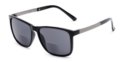 Angle of The Kearney Bifocal Reading Sunglasses in Glossy Black with Smoke, Men's Square Reading Sunglasses