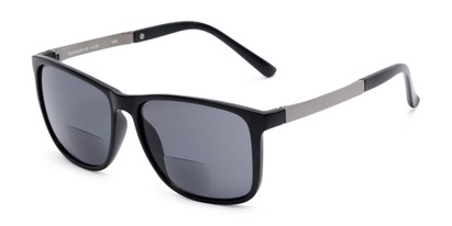 Angle of The Kearney Bifocal Reading Sunglasses in Matte Black with Smoke, Men's Square Reading Sunglasses