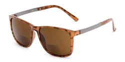Angle of The Kearney Bifocal Reading Sunglasses in Glossy Tortoise with Amber, Men's Square Reading Sunglasses
