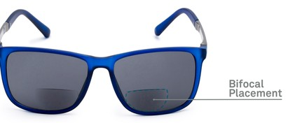 Detail of The Kearney Bifocal Reading Sunglasses in Matte Blue with Smoke