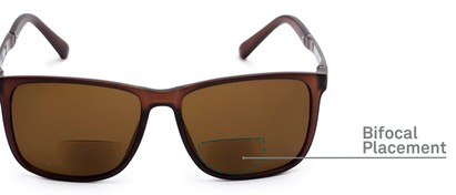 Detail of The Kearney Bifocal Reading Sunglasses in Matte Brown with Amber