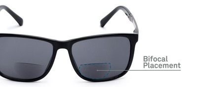 Detail of The Kearney Bifocal Reading Sunglasses in Glossy Black with Smoke