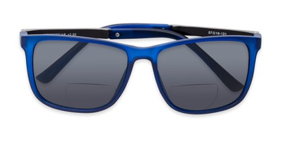 Folded of The Kearney Bifocal Reading Sunglasses in Matte Blue with Smoke