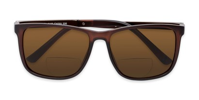 Folded of The Kearney Bifocal Reading Sunglasses in Matte Brown with Amber