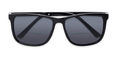 Folded of The Kearney Bifocal Reading Sunglasses in Glossy Black with Smoke