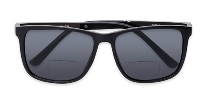 Folded of The Kearney Bifocal Reading Sunglasses in Matte Black with Smoke