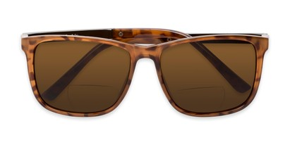 Folded of The Kearney Bifocal Reading Sunglasses in Glossy Tortoise with Amber