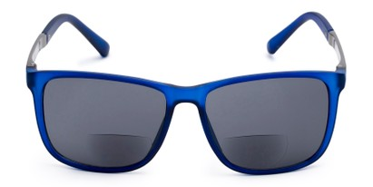 Front of The Kearney Bifocal Reading Sunglasses in Matte Blue with Smoke