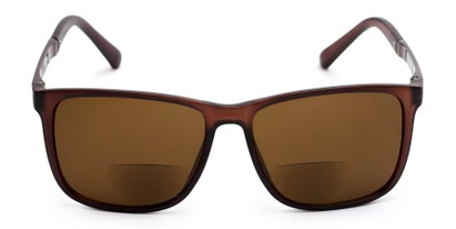 Front of The Kearney Bifocal Reading Sunglasses in Matte Brown with Amber