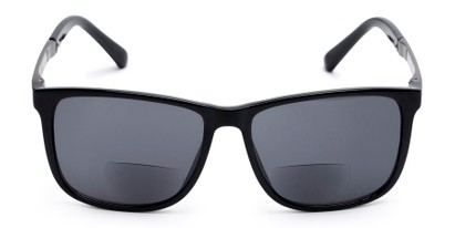 Front of The Kearney Bifocal Reading Sunglasses in Glossy Black with Smoke