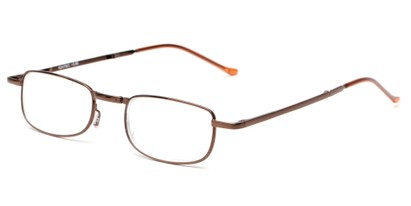 Angle of The Kennedy Folding Reader in Bronze, Women's and Men's Rectangle Reading Glasses