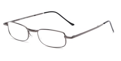 Angle of The Kennedy Folding Reader in Grey, Women's and Men's Rectangle Reading Glasses