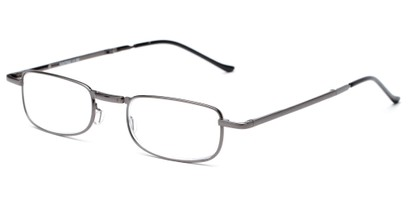 Angle of The Kennedy Folding Reader in Silver, Women's and Men's Rectangle Reading Glasses