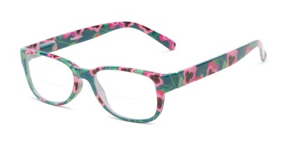 Angle of The Kenzie Bifocal in Green/Red Floral, Women's Rectangle Reading Glasses