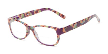 Angle of The Kenzie Bifocal in Purple Floral, Women's Rectangle Reading Glasses