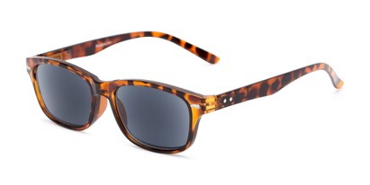 Angle of The Key West Reading Sunglasses in Tortoise with Smoke, Women's and Men's Retro Square Reading Sunglasses