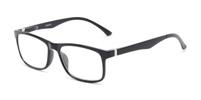 Angle of The Lambert Photochromic Reader in Black with Smoke, Women's and Men's Retro Square Reading Glasses
