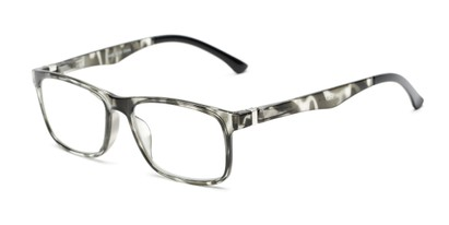 Angle of The Lambert Photochromic Reader in Black Tortoise with Smoke, Women's and Men's Retro Square Reading Glasses