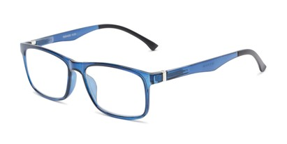 Angle of The Lambert Photochromic Reader in Blue with Smoke, Women's and Men's Retro Square Reading Glasses