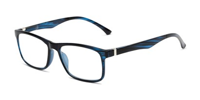Angle of The Lambert Photochromic Reader in Blue Stripe with Smoke, Women's and Men's Retro Square Reading Glasses