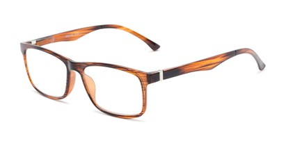 Angle of The Lambert Photochromic Reader in Brown Stripe with Smoke, Women's and Men's Retro Square Reading Glasses