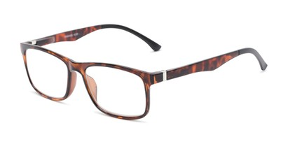 Angle of The Lambert Photochromic Reader in Brown Tortoise with Amber, Women's and Men's Retro Square Reading Glasses