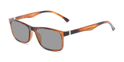 Front of The Lambert Photochromic Reader in Brown Stripe with Smoke