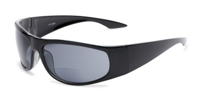 Angle of The Lance Bifocal Reading Sunglasses in Black with Smoke, Women's and Men's Sport & Wrap-Around Reading Sunglasses