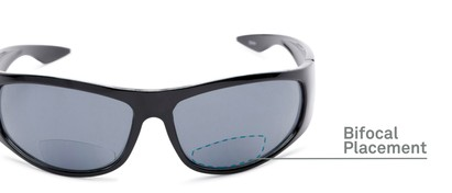 Detail of The Lance Bifocal Reading Sunglasses in Black with Smoke