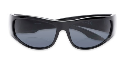 Folded of The Lance Bifocal Reading Sunglasses in Black with Smoke