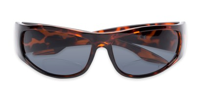 Folded of The Lance Bifocal Reading Sunglasses in Tortoise with Smoke