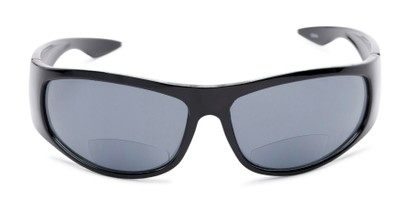 Front of The Lance Bifocal Reading Sunglasses in Black with Smoke