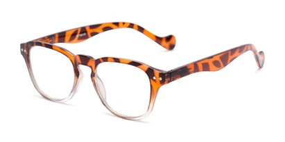 Angle of The Landis in Tortoise/Clear, Women's and Men's Square Reading Glasses