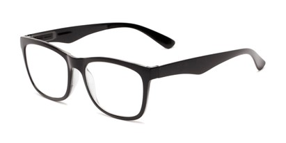 Angle of The Larkin in Black, Women's and Men's Retro Square Reading Glasses