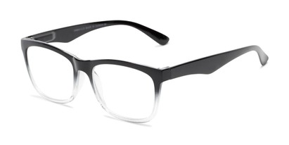 Angle of The Larkin in Black with Clear Fade, Women's and Men's Retro Square Reading Glasses