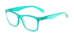 Angle of The Larkin in Clear Green, Women's and Men's Retro Square Reading Glasses