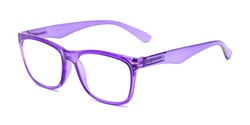 Angle of The Larkin in Clear Purple, Women's and Men's Retro Square Reading Glasses