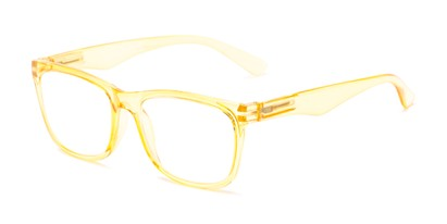 Angle of The Larkin in Clear Yellow, Women's and Men's Retro Square Reading Glasses